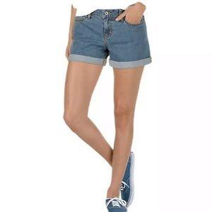 Vans Boyfriend Cuff Stretch Mid Rise Jean Shorts